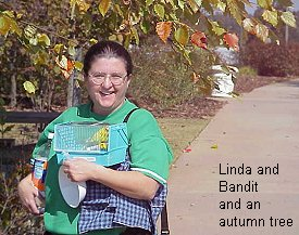 Linda and Bandit under a fall tree